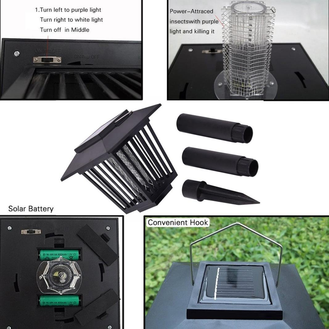 Cinhent Mosquito Killer, Insect Zapper Accent Kill Bugs with Solar LED Garden Light Lamp Smart Household Repellent, Bedroom Silently Pest Control, 6''(L) x 6''(W) x 19''(H), Patio Yard Ground Insertion