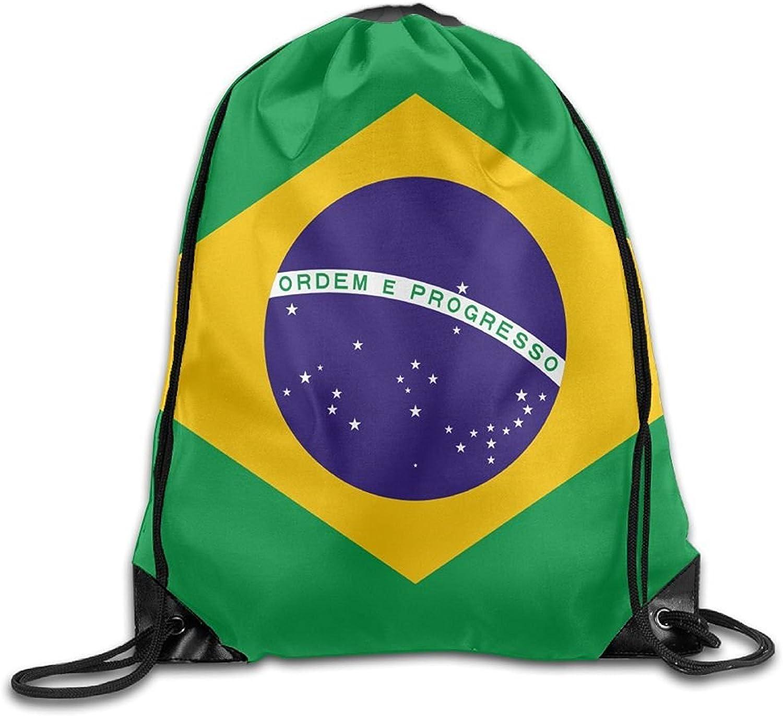Flag Of Brazil Cool Gym Drawstring Bags Travel Backpack Tote School Rucksack