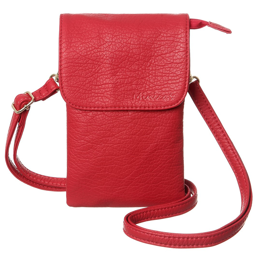 MINICAT Snythethic Leather Small Crossbody Bag Cell Phone Purse Wallet For Women(Red)
