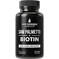 Saw Palmetto + Biotin Advanced 2-in-1 Combo for Hair Growth. Vegan Capsules Supplement...