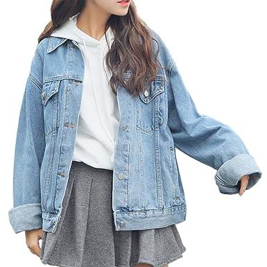 6fe03e93662e Flygo Women's Oversized Baggy Boyfriend BF Denim Jean Jacket Coat Long  Sleeve Big Pockets at Amazon Women's Coats Shop