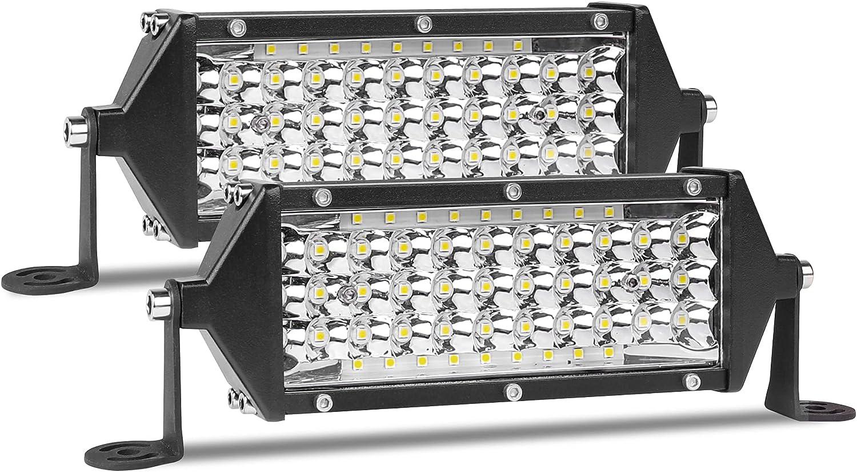 Zmoon 7 inch LED Light Bar 2PCS 300W Waterproof Fog Lights Five-Row Spot & Flood Combo Beam Work Lights for Offroad Car Trucks Tractor Trailer Boats ATV UTV SUV, 12V/24V