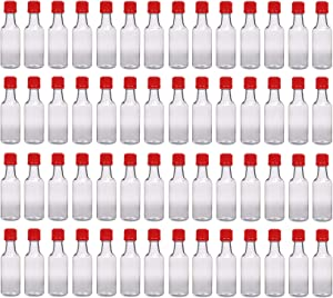 50 ml (1.7 Oz.) Premium Quality Round PET Clear Small Plastic Bottle with Tamper Evident Caps, Food Grade Made In USA (Red Caps - 56 Bottles)