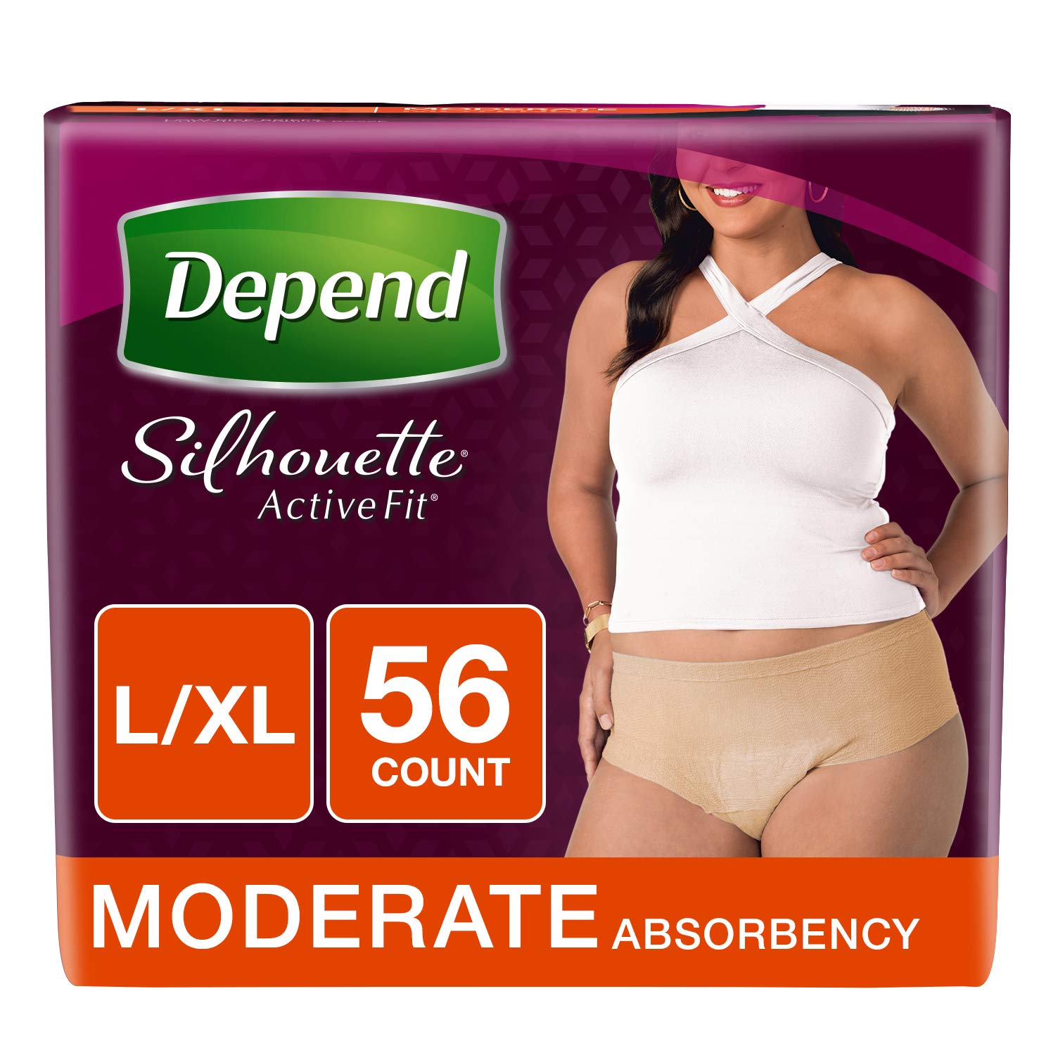 Depend Silhouette Active Fit Incontinence Underwear for Women, Moderate Absorbency, L/XL, Beige, 56 Count