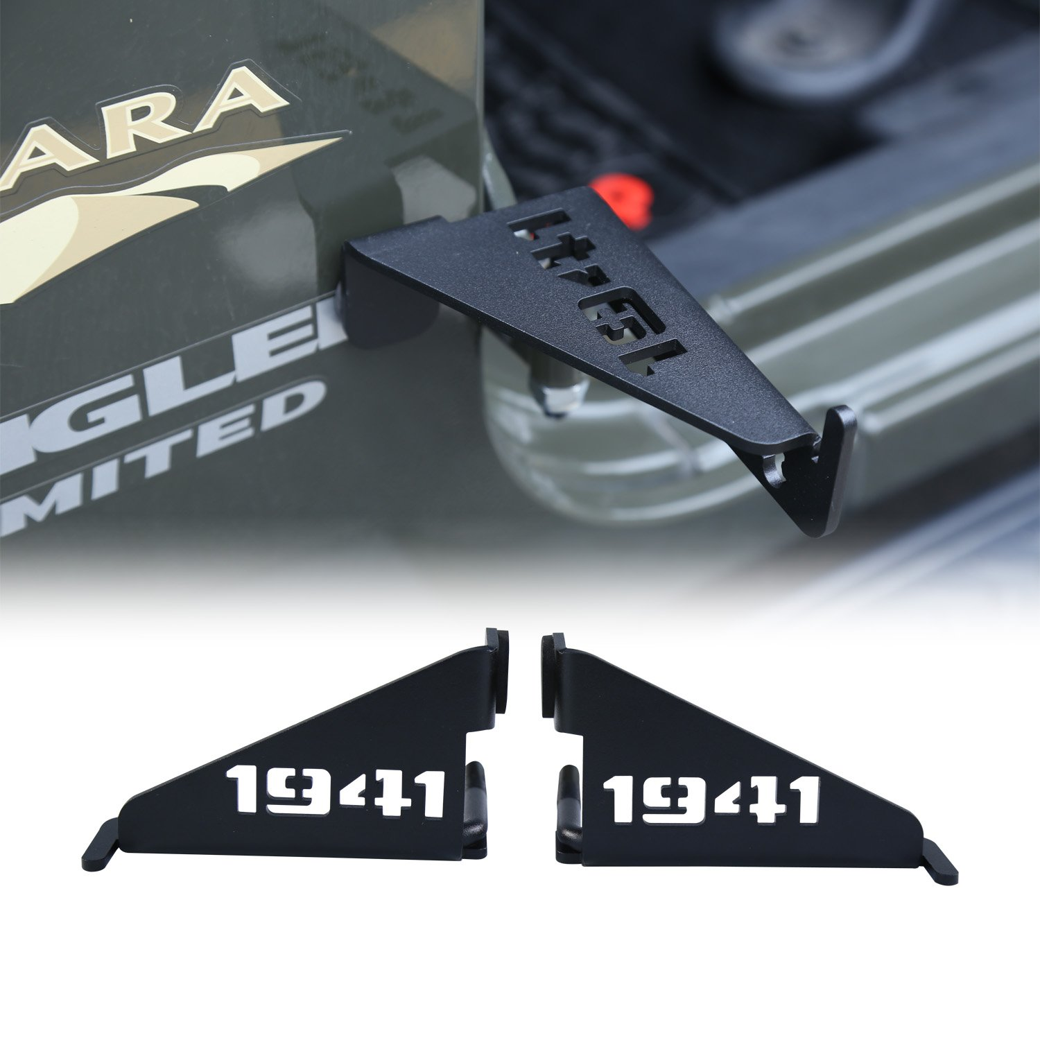 cartaoo Foot Pegs Solid Steel Black Foot Rest Kick Panel for 2007-2017 Jeep Wrangler JK & Unlimited (2pcs in 1pack) (1941 Style)