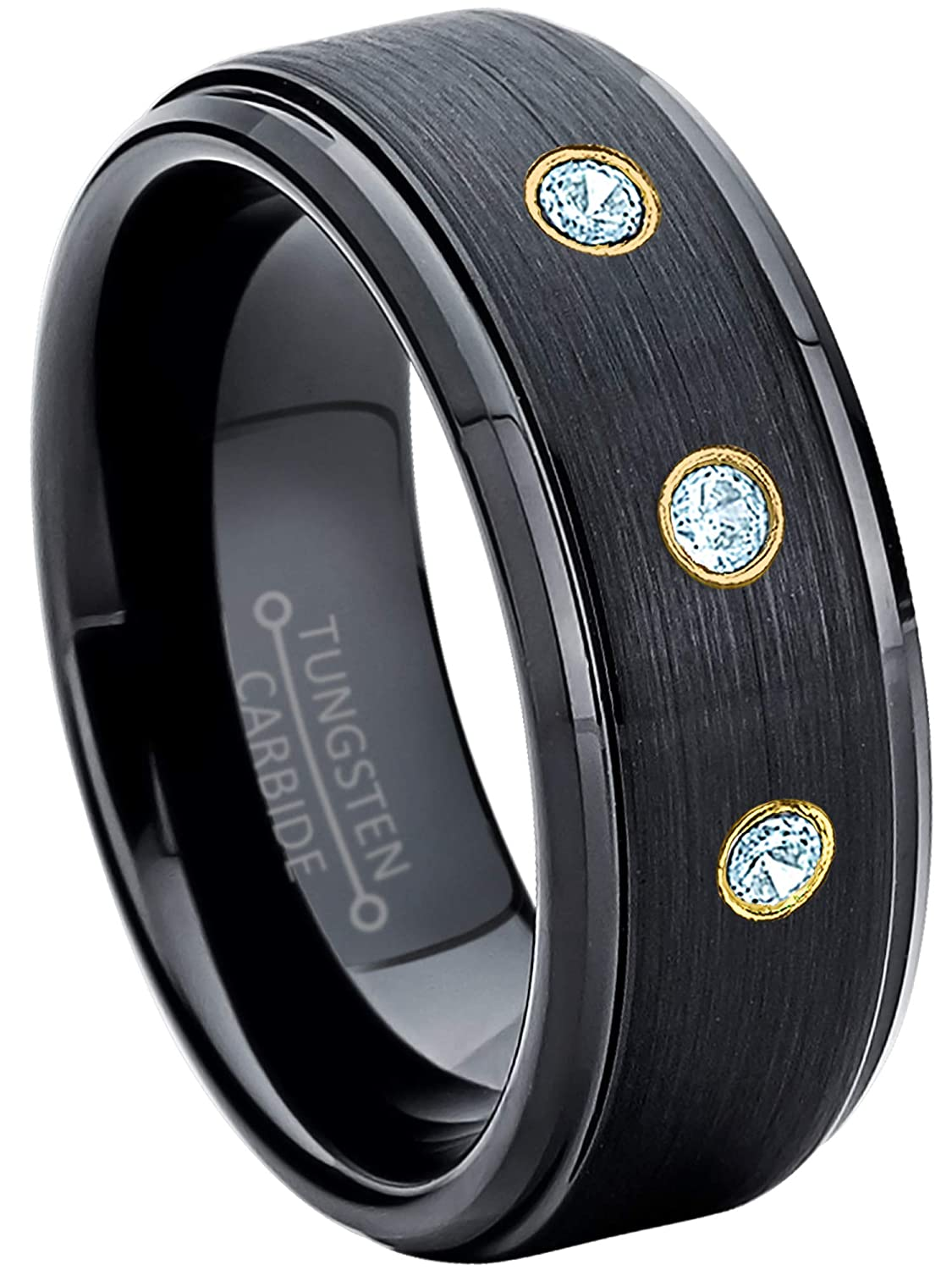 November Birthstone Ring Jewelry Avalanche 8MM Brushed Black IP Stepped Edge Tungsten Carbide Wedding Band 0.21ctw Topaz 3-Stone Tungsten Ring
