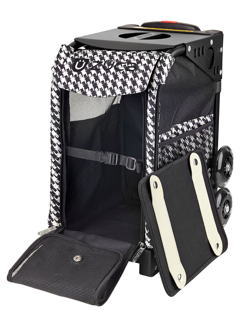 ZUCA Rolling Pet Carrier - Houndstooth Black Bag with Black Sport Frame and Flashing Wheels by ZUCA (Image #2)