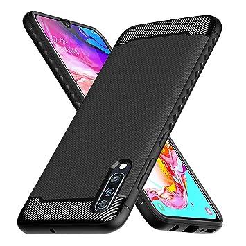 Ferilinso Funda para Samsung Galaxy A70, Funda Protectora a Prueba de choques Flexible diseño de Fibra de Carbono Cubierta para Funda Samsung Galaxy ...
