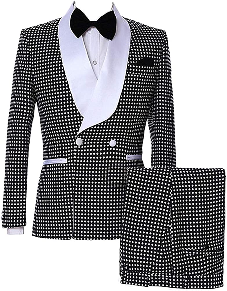 auguswu One Button Polka Dot Mens Suits Slim Fit Tuxedos 2 Piece Sets