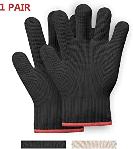 1 PAIR Heat Resistant Gloves Oven Gloves Heat Resistant With Fingers Oven Mitts Kitchen Pot Holders Cotton Gloves Kitchen Gloves Double Oven Mitt Set Oven Gloves With Fingers (Black, 2 pcs)