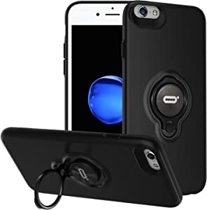 ICONFLANG iPhone 6s Plus/6 Plus Case with Ring Holder Kickstand, 360 Degrees Rotating Ring Holder Grip Case Ultra Slim Thin Hard Cover for iPhone 6s Plus/6 Plus (5.5inch) (Black)