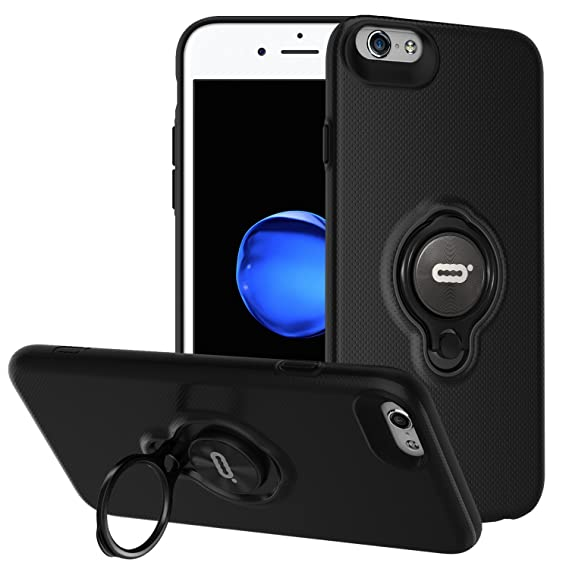 new styles d9ac6 3dd08 iPhone 6s / iPhone 6 Case with Ring Holder Kickstand Function, 360 Degree  Rotating Ring Holder Grip Case Ultra Slim Thin Hard Cover for iPhone 6s /  ...