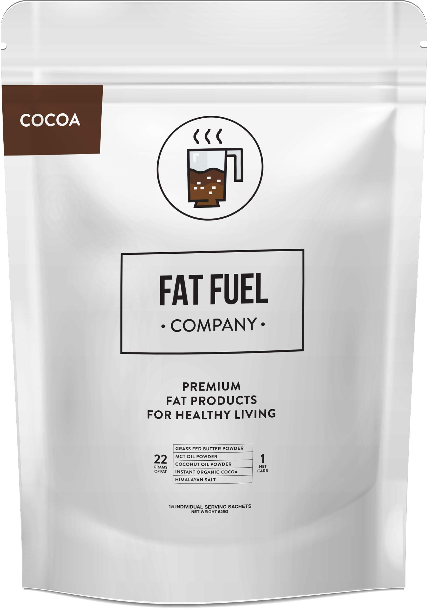 Fat Fuel Company Keto Cocoa Powder   Hot Chocolate Drink Mix   Coconut & MCT Oil, Grass Fed Butter, Himalayan Salt   Perfect For Low-Carb & Paleo Diet   Organic Ingredients   15 Packets