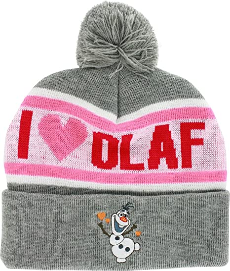 38b5fc737a32d Image Unavailable. Image not available for. Color  Disney Frozen I Love  Olaf Women Ladies Cuffed Pom Beanie Knit Hat Heather Winter