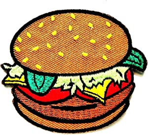PP Patch Vegetable Hamburger Pig Meat Breakfast Bread Cartoon Embroidered Patch Cute Applique Sew Iron on Kids Craft Patch Sticker Cartoon for Bags Jackets Jeans Clothes Hat Backpacks