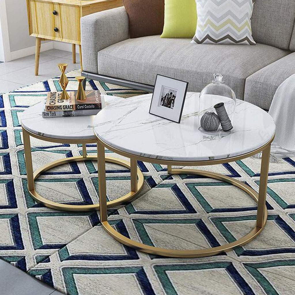 NMDCDH Home Décor Furniture Sets of 2 Living Room Overlapping Ending Cocktail Tables, Home Decor Stacking Nesting Table Sets | Round Tea/Coffee Tables, Marble Pattern MDF Desk Top Living