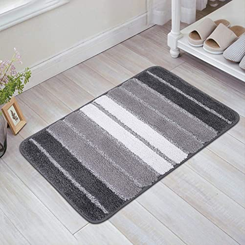 Indoor Outdoor Doormat, HIPPIH Front Door Mat Non Slip, Soft Entryway Welcome Mats, Striped Rugs for Doorway, Entry Way, Bedroom, Water Absorbent, Washable Gray