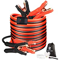 Jumper Cables, Heavy Duty Booster Cables 0 Gauge 25Feet (0AWG x 25Ft) 1000Amp with Goggles Gloves Cleaning Brush in Carry Bag