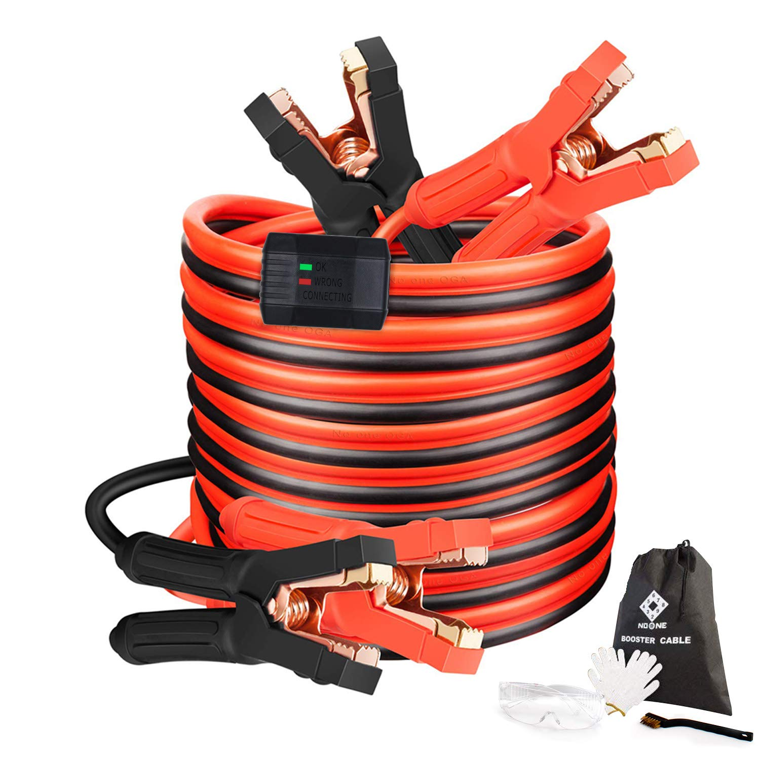 Jumper Cables Heavy Duty Booster Cables 0 Gauge 25Feet (0AWG x 25Ft) 1000Amp with Goggles Gloves Cleaning Brush in Carry Bag by NoOne