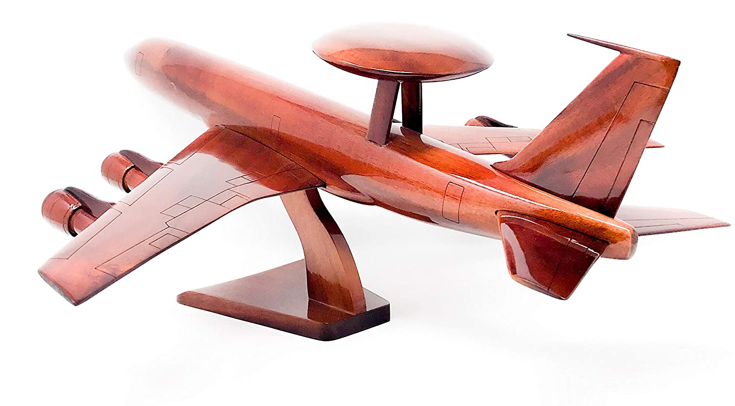 E-3 AWACS Replica Airplane Model Hand Crafted with Real Mahogany Wood