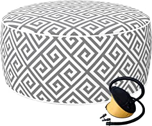 LVTXIII Inflatable Stool Ottoman Footrest with Handle and Air Pump, All Weather Foot Rest for Kids or Adults, Indoor or Outdoor Use for Home Patio Garden and Camping, D21 x H9 , MagMaze Grey