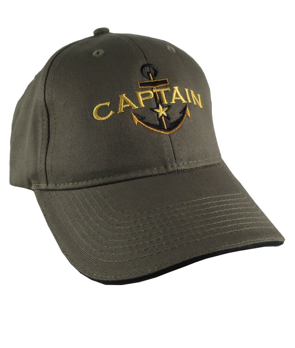 Personalized Captain Star Anchor Embroidery Adjustable Khaki and Black Structured Fashion Baseball Cap + Options to Personalize Side Back
