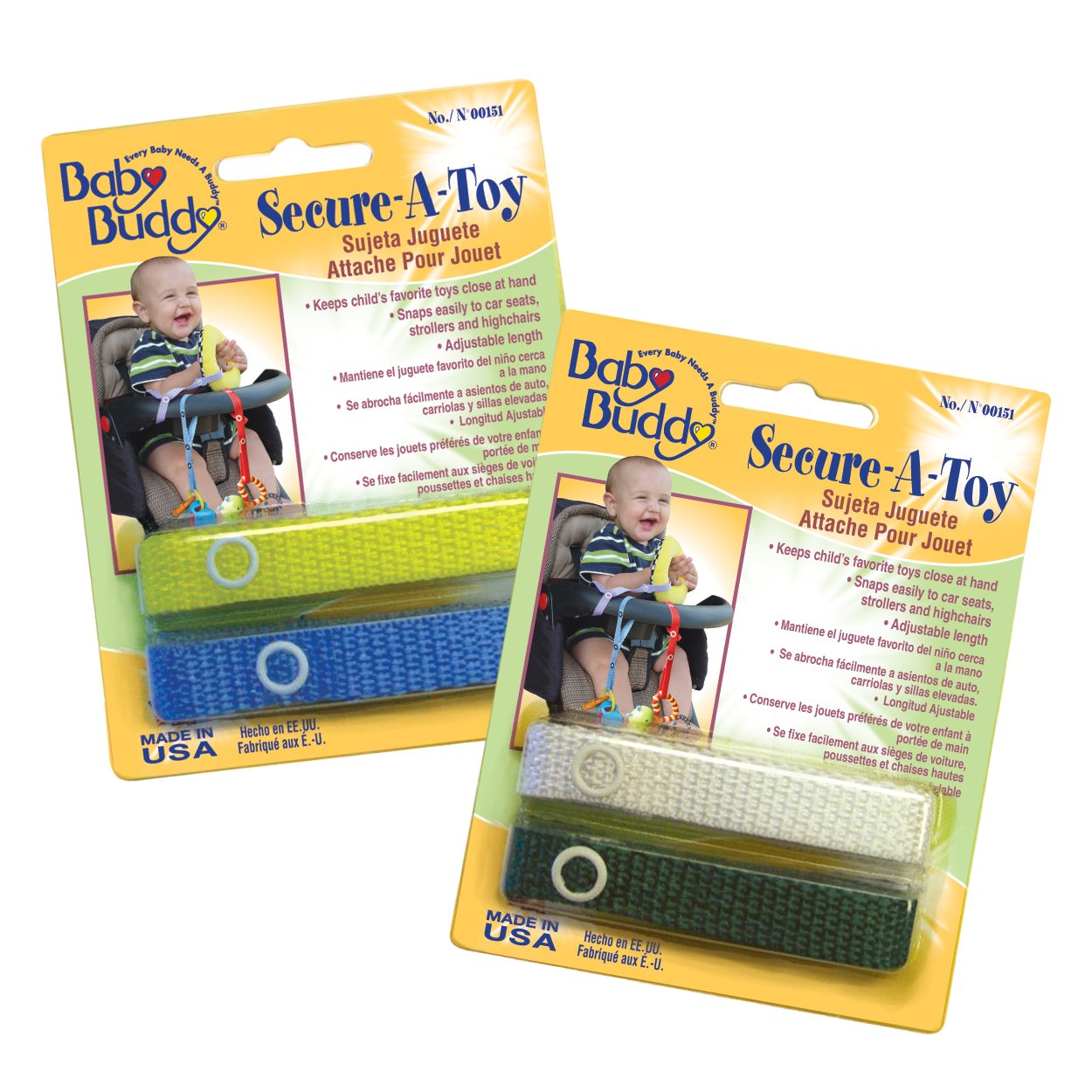 Baby Buddy Secure-A-Toy straps 4ct for 6-36 months (Multicoloured) Compac Industries 04149-YBWK