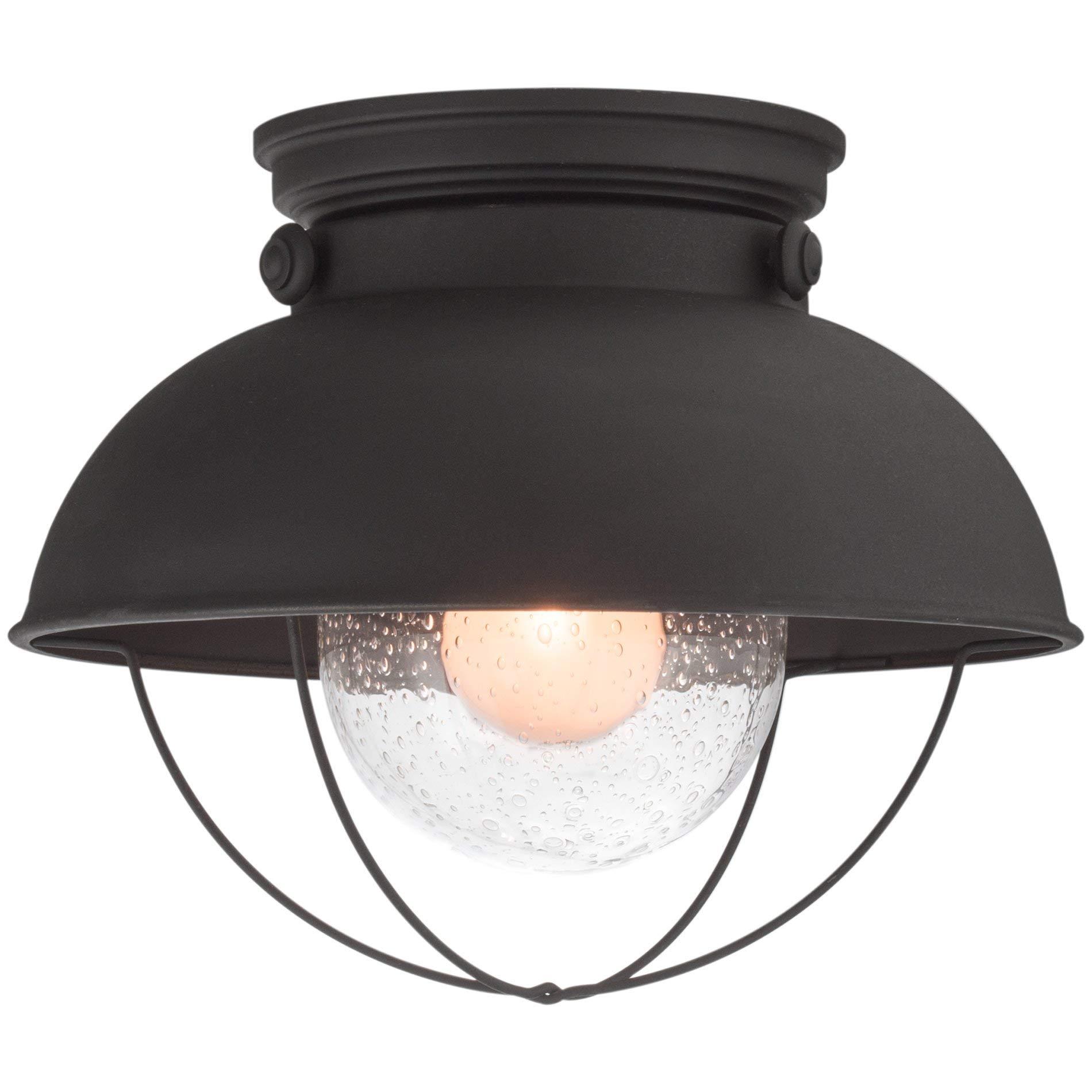 Kira Home Bayside 11'' Industrial Farmhouse Flush Mount Ceiling Light + Seeded Glass Shade, Matte Black Finish