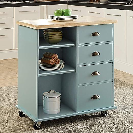 Linio-home Carrito de cocina con ruedas, 3 estantes de ...