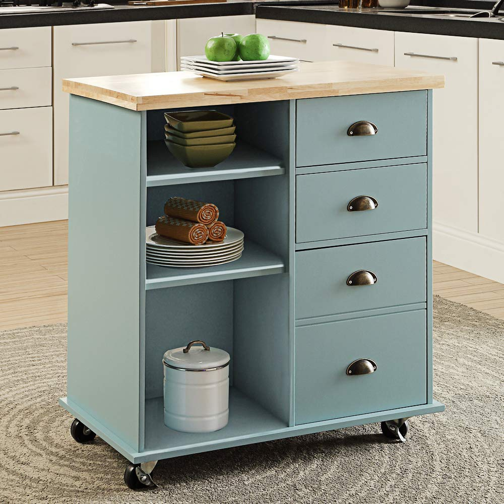 Linio home Rolling Kitchen Island Cart on Wheels, 9 Tier Solid ...