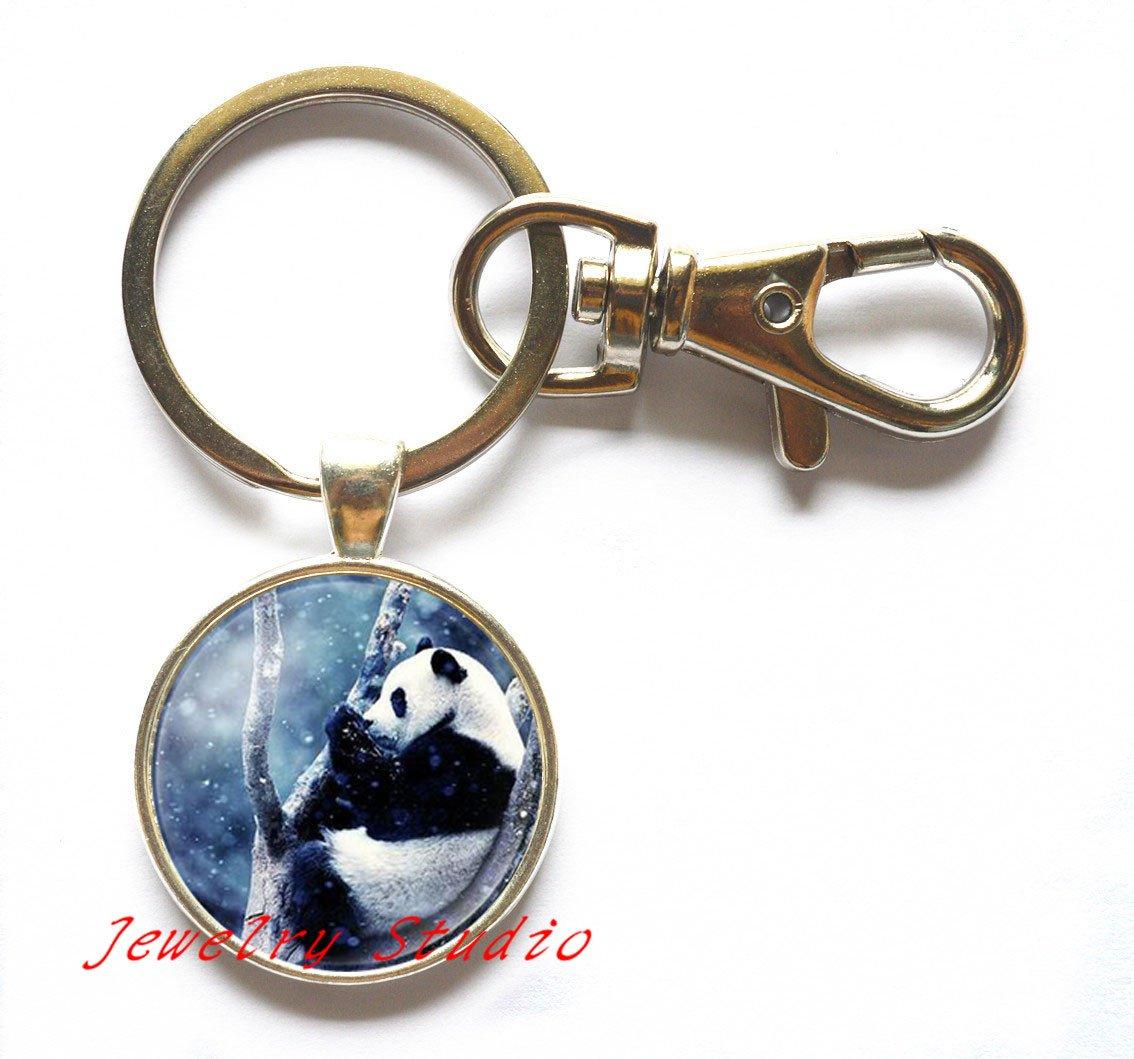 Encantador Oso Panda moda llavero imágenes cabuchón de ...