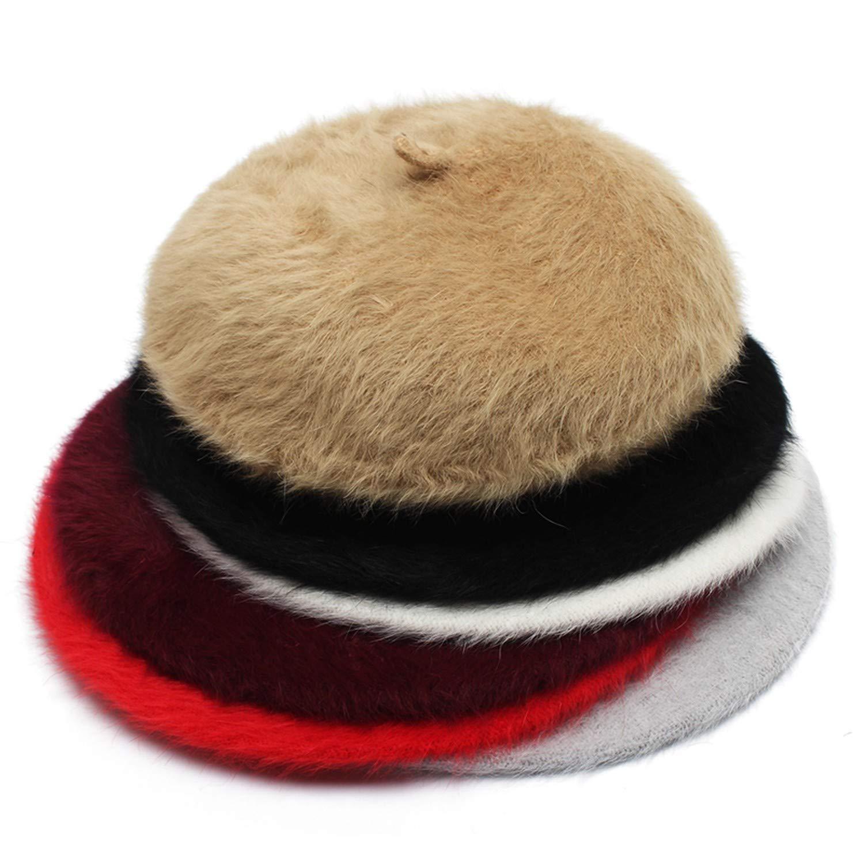 Women Rabbit Fur Knitted Berets Hats Solid Color Autumn Winter Hat Bonnet Caps