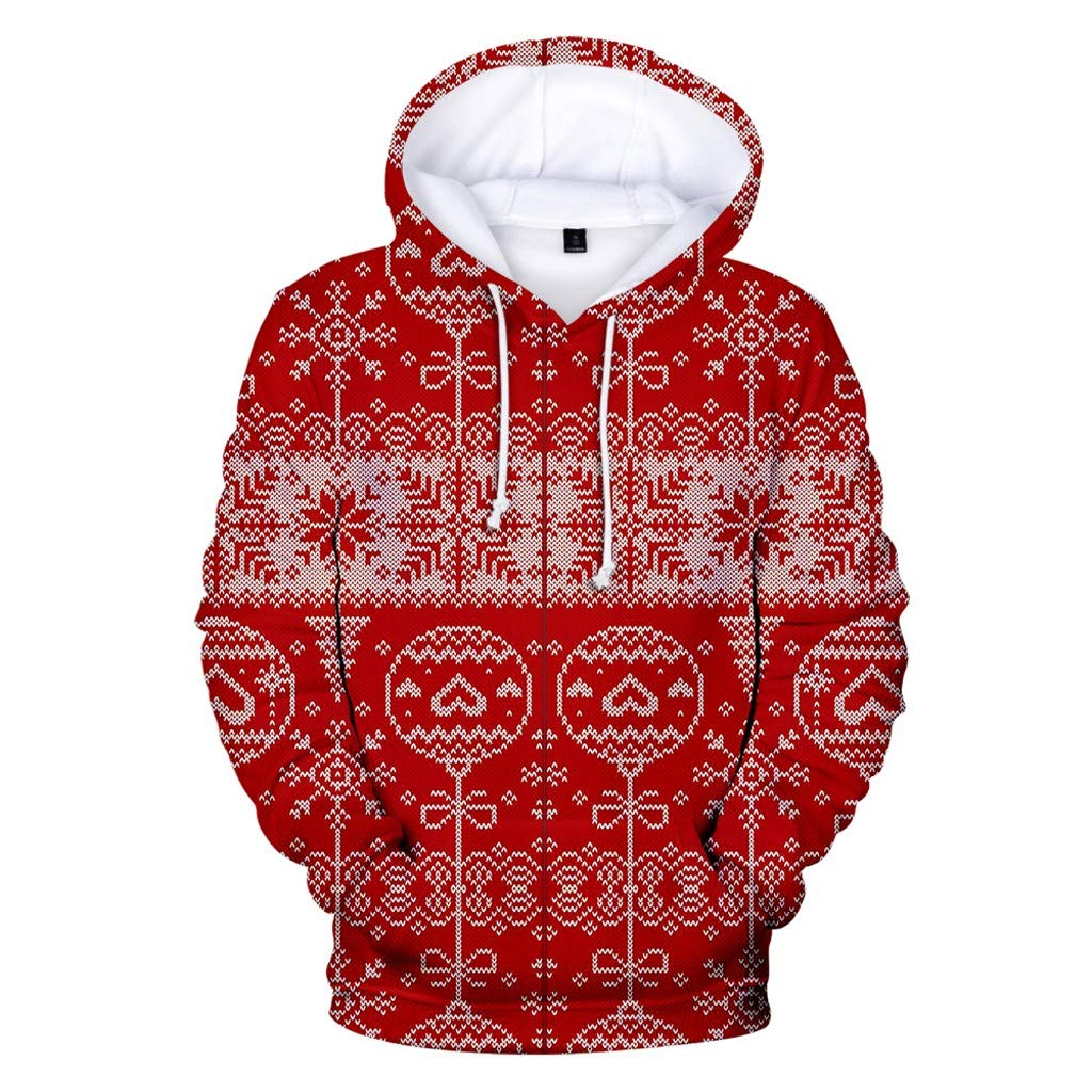 Christmas Fashion Women 3D Christmas Print Party Long Sleeve Hooded Sweatshirt Pullover Tops Chsristmas Costumes by F_topbu Women Tops