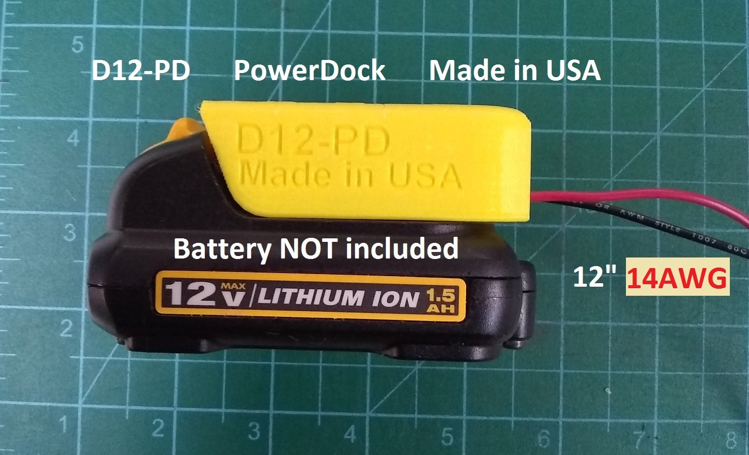 D12 Power Dock for DeWalt DCB12x Battery, Wired 14AWG, PN# D12-14
