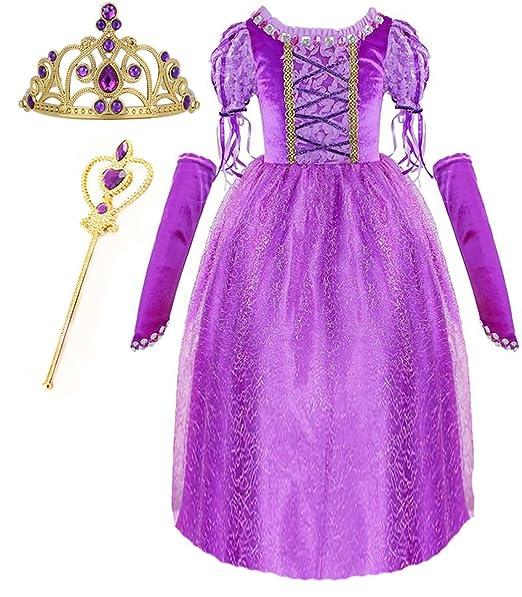 Amazon.com: Princess Rapunzel Purple Princess Party Costume Dress ...