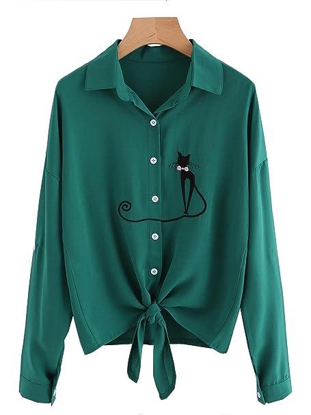 Amazon.com: Camisa de mujer con lazo delantero y nudos para ...