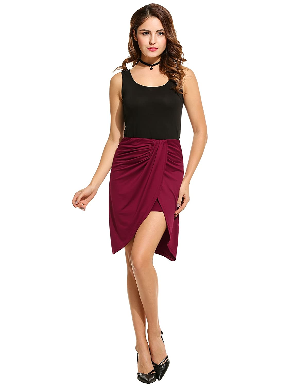 Zeagoo Women's Warp Front Draped Asymmetrical Hi Low Maxi Pencil Skirt ETH006535