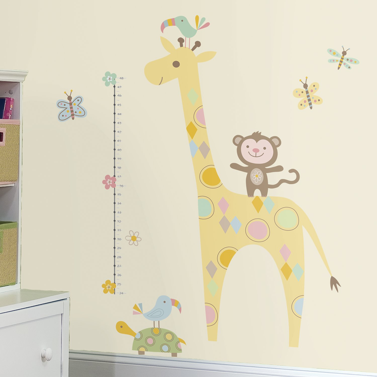 RoomMates RMK3543GM Tribal Baby Animal Growth Chart Peel and Stick Wall Decals