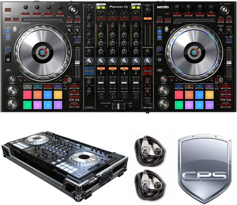 Cables and 2 Year Accidental Warranty Pioneer DJ DDJ-SZ2 PROtection Bundle with Case