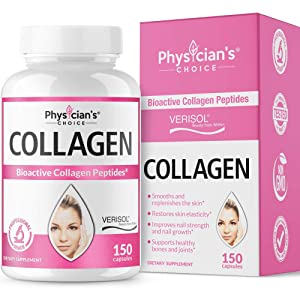 Bioactive Collagen Pills (150 Capsules) - Clinically Proven & Patented Verisol Collagen Peptides - Premium Hydrolyzed Collagen Capsules - Promotes Healthy Hair, Skin, Nails, Non-GMO