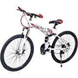 G4 Challenge Land Rover Folding Bicycle - White Red 26 Inch (Multi Color)