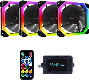 Apevia Phoenix PN4-RGB 120mm Dual-Ring Addressable RGB LED Fan for Gaming, 16x LEDs & 8X Anti-Vibration Rubber Pads (4-pk)