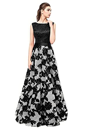 Changuan Womens Floral Lace Bridesmaid Dress Sleeveless Long Prom Evening Dresses Black-2