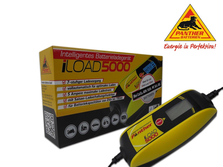 Panther iLOAD 5000 KFZ Batterieladeger/ät Ladeger/ät Batterie Auto Akku Ladeger/ät Autobatterie aufladen 6V+12V 5 A