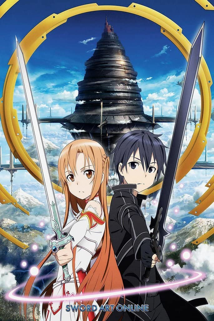 Sword Art Online Kirito Poster Print Wall Decor Anime Fan Art Large 24x16 inch