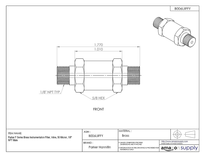 Parker F Series Brass Instrumentation Filter 10 Micron Inline 3//8 NPT Male