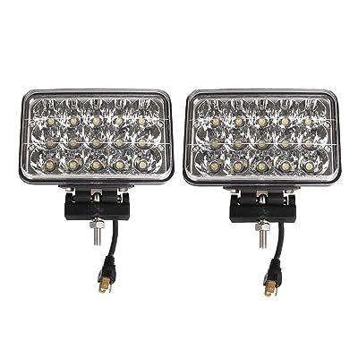 Lightronic 4X6 Inch Rectangular 45W 4500 Lumens 6000K Super Bright LED Off-Road Fog & Driving Light (2 Pack): Automotive