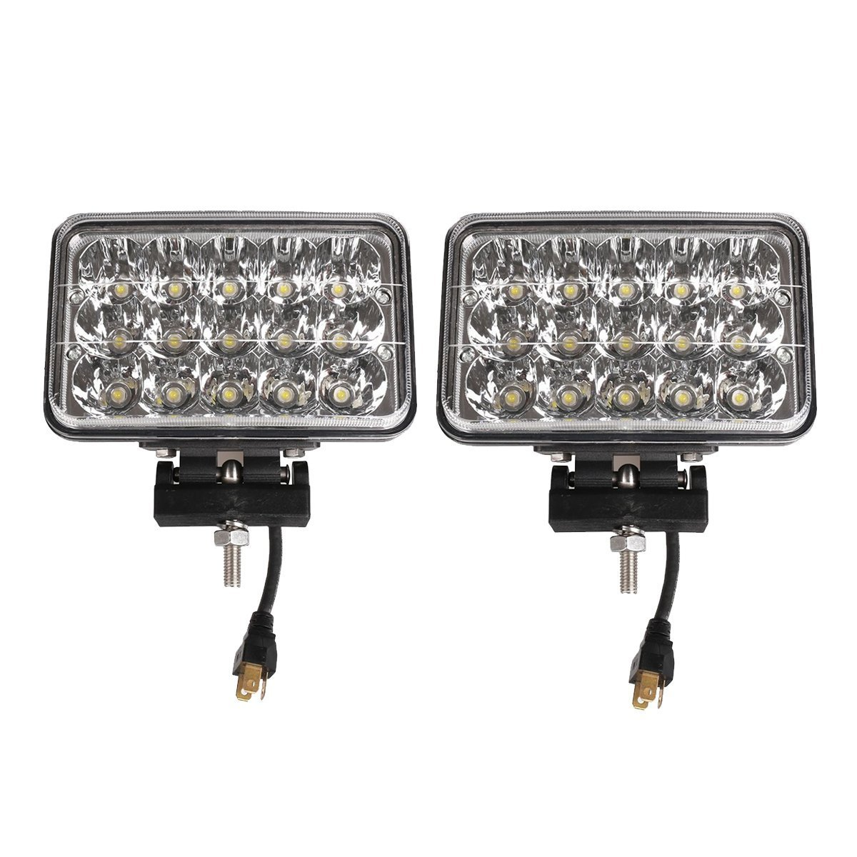 Lightronic Pair 45W Square Clear 4x6 inch LED Headlight Bulb Truck Light Amber Spot High Low Beam Fog Lamp