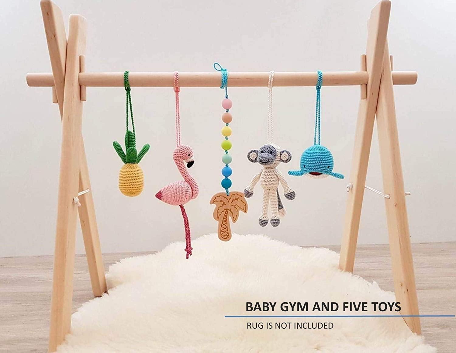 Tropical baby play gym. Flamingo, Pineapple, Monkey, Whale, Palm tree with rainbow beads. Activity baby center. Wooden baby gym frame with 5 baby gym mobiles. Handmade in eastern Europe.
