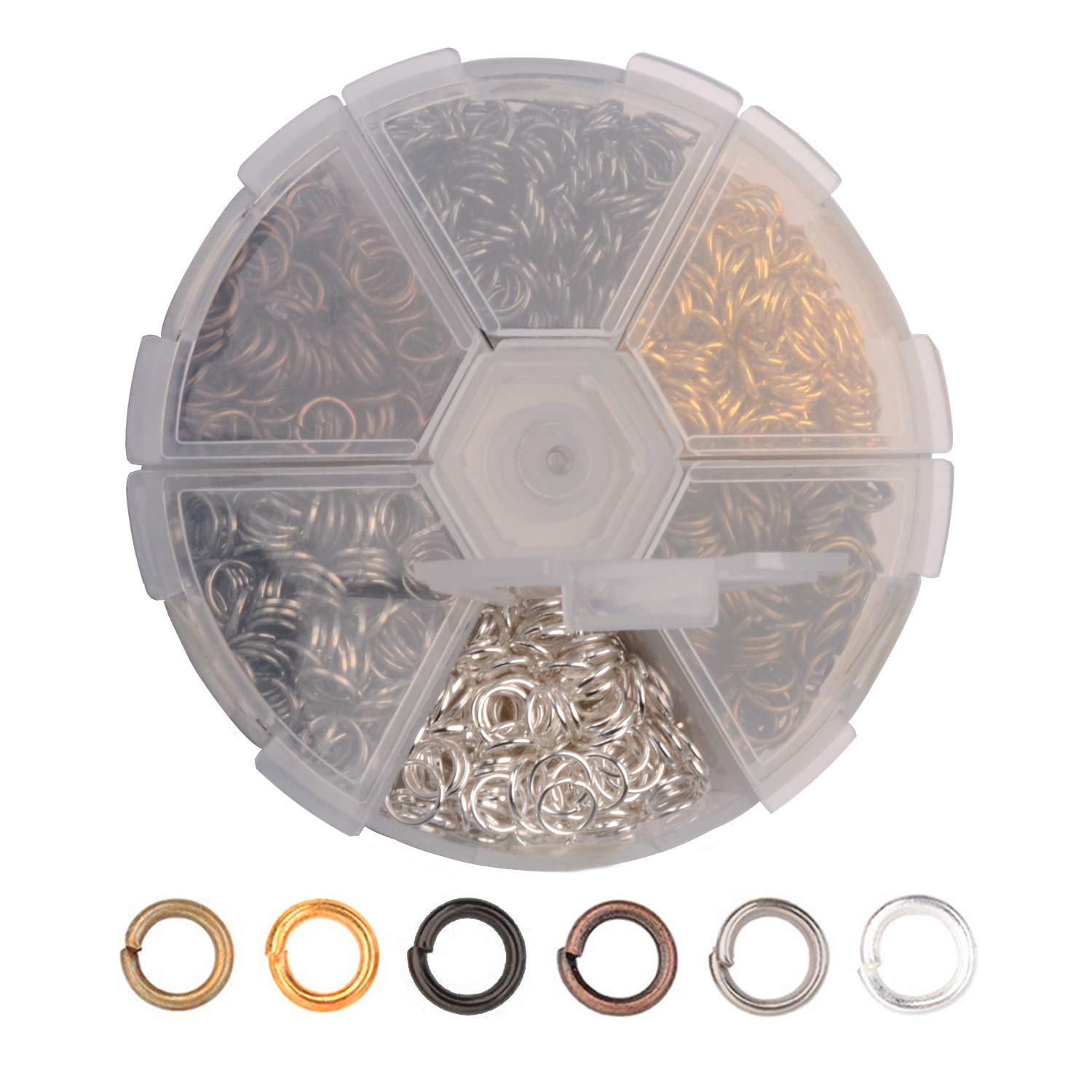Open Jump Rings Hotetey 1 Box (About 1800Pcs) Assorted 6 Colors 6mm Open Iron Jump Rings Connectors for Jewelry Making